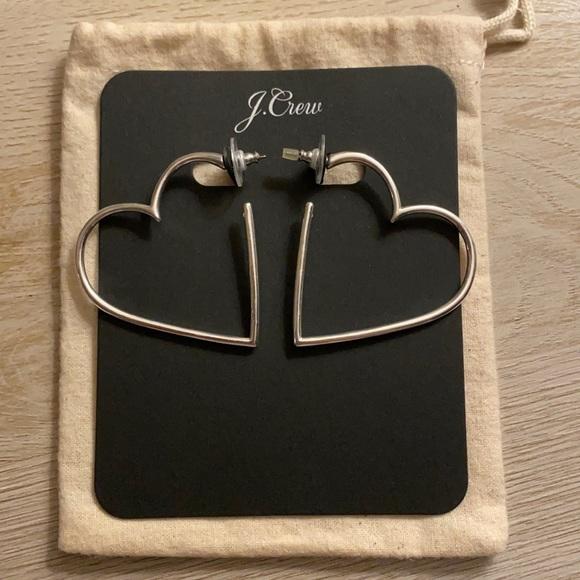 J. Crew Silver Heart Earrings